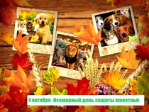 4 октября —Международный день животных(Отмечается в день именин Франциска Ассизского — защитника и покровителя животных с 1931г.)